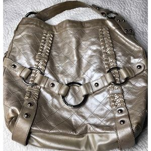Isabella Fiore Quilted Carina gold metallic hobo